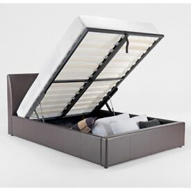 Same Day Fastest Delivery* new Double Leather Ottoman Storage Bed With Crown Orthopaedic Mattress