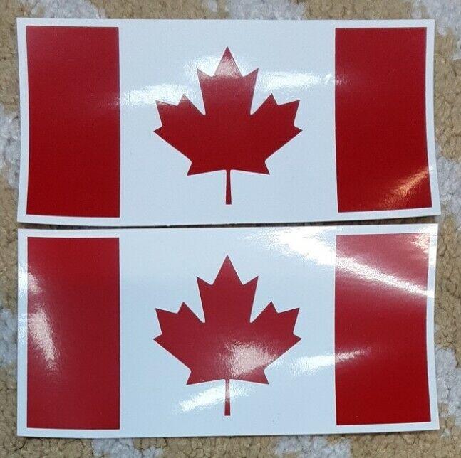 """2 Canadian Canada Flag 6""""x3""""inch vinyl Decal Sticker"""