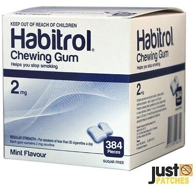 Habitrol Nicotine Gum 2 mg MINT Flavor (384 Pieces, 1 Bulk Box) Fresh
