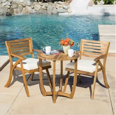 Wood Patio Bistro Set Table 2 Chairs Outdoor Teak Lawn Garden Pool Porch Deck In