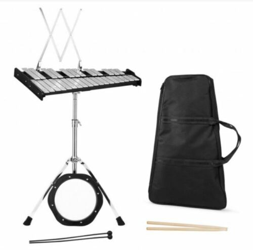 30 Notes Glockenspiel Percussion Xylophone Practice Pad Mallets Sticks Stand NEW