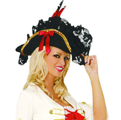 Perfect Pirate Hat! Costume! Adult Woman or Man Halloween Sea Wench Captain  - Captain Hat Halloween