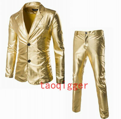 Mens Costume Glitter Lapel Slim Two Bitton 2piece Pants Short Jacket Chic Suit