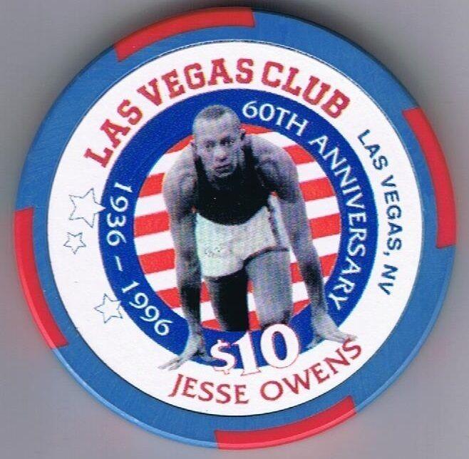 Las Vegas Club $10.00 Jesse Owens 60 Anniversary Casino Chip Las Vegas Nevada