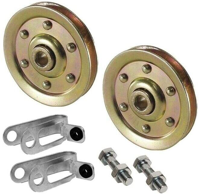 """Garage Door Pulley 3"""" and Safety Cable Guide for Extension Springs (2 Pack) (200"""