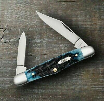 Case XX Half Whittler Pocket Knife Stainless Blade Blue Jigged Bone Handle 10885