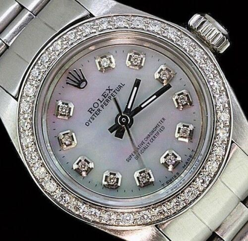 Rolex - Rolex Ladies Oyster Perpetual Stainless Steel Diamond Bezel Dial Watch
