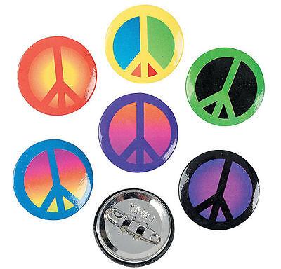 48 PEACE SIGN BUTTONS - Groovy Metal Hippie Retro Bulk Wholesale Lot! US Seller!