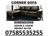 BRAND NEW LEATHER CORNER SOFA SUITE IN BLACK OR BROWN PRE XMAS DELIVERY