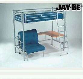 Blue metal frame Jaybe high sleeper with desk and futon style fold out single bed beneath.