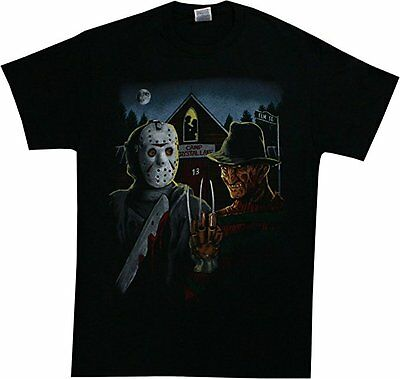 Freddy VS Jason Camp Crystal Lake Scary Horror Movie Halloween Mens Shirt 72-151 - Halloween Vs Jason