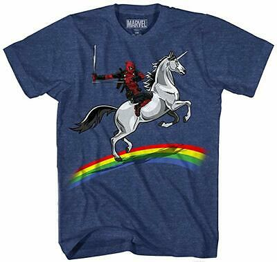 Deadpool T Shirts (Marvel Comics Deadpool Rainbow Unicorn T-shirt Navy Heather)