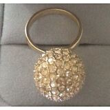Authentic Coach Gold Pave Ball Ring 6