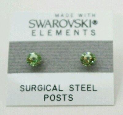 Small Light Green Circle Stud Earrings Crystal 5mm Made with Swarovski Elements - Element Green Earrings