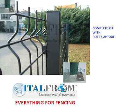 Fence panel railings anthracite with post support complete kit H200cm L20m