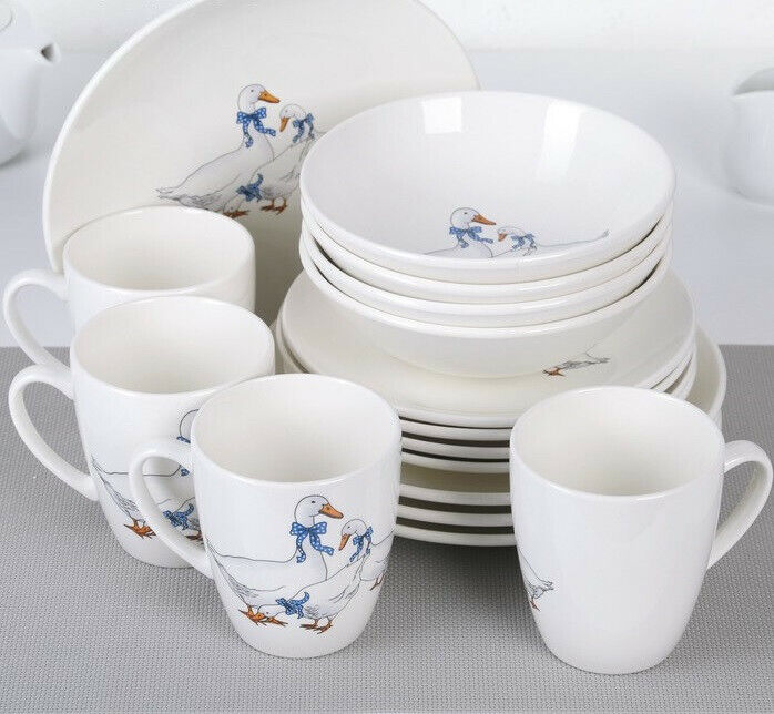 16 Piece Porcelain Dinnerware Set for 4 persons w/ Geese Pat