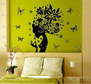 LARGE-Beautiful-Flower-Girl-Vinyl-Wall-Stickers-Removable-Art-Decals-Black
