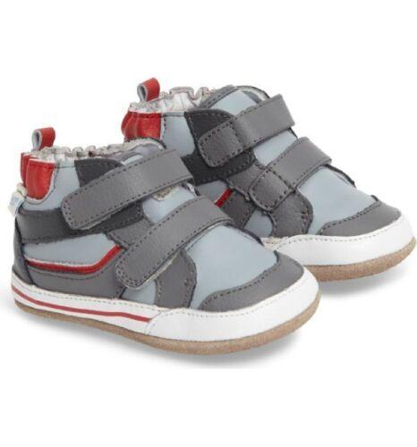 NIB Robeez Shoes Mini Shoez Greg High Top Bootie Gray 3-6m 2