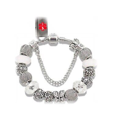 Designer Beaded Charm USB Bracelet EMR EHR PHR Medical Alert