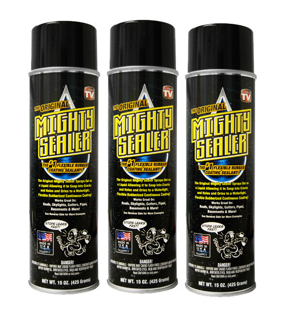 3 Pack Mighty Sealer - Flexible Rubber Coating - Black, White, or Clear