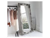 VERY LARGE ORNATE SILVER FRAMEDCMIRROR