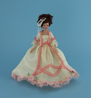 Lovely Dollhouse Miniature Fancy Dressed Porcelain Lady Doll #WCPD148B