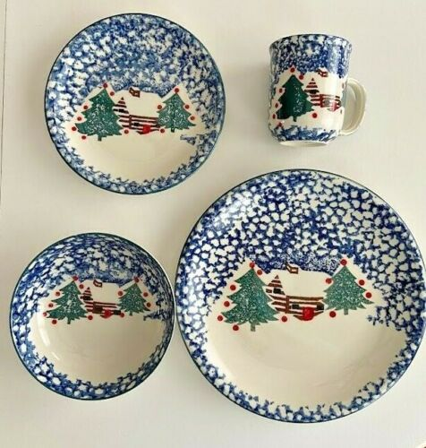 "FOLK CRAFT ""CABIN IN THE SNOW"" TIENSHAW CHRISTMAS WINTER PLACE SETTING DISHES"