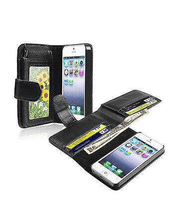 Black Card Holder Flip Wallet Leather Case Cover For Apple iPhone 5 / 5S New