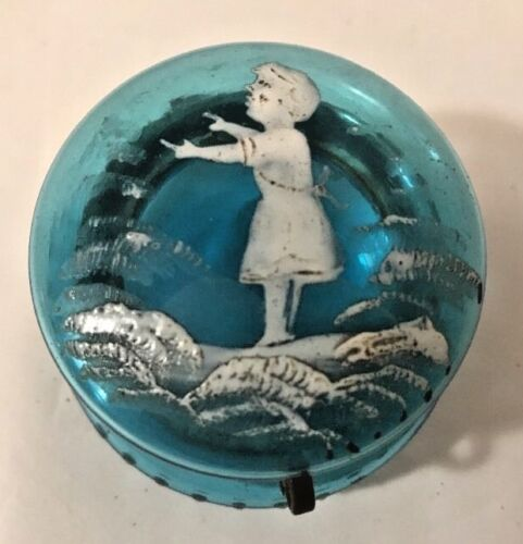 """Victorian Early Mary Gregory Turquoise Blue Glass Round Trinket Pill Box 2 1/4"""""""