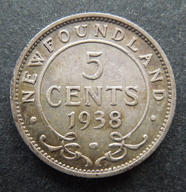 Newfoundland Canada 1938 Five 5 Cents King George VI Silver Coin UNC