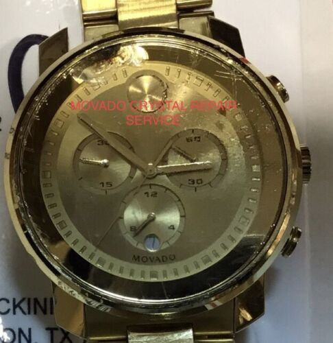 MOVADO BOLD WATCH BROKEN CRACKED GLASS CRYSTAL REPLACEMENT REPAIR SERVICE