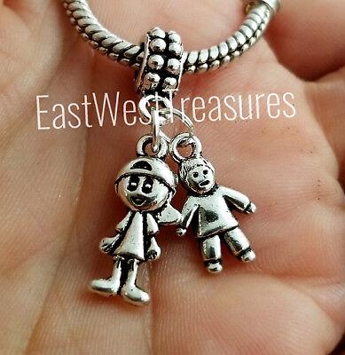 Zwei Jungen Big Little Brother Sons Enkel Anhänger Armband Halskette