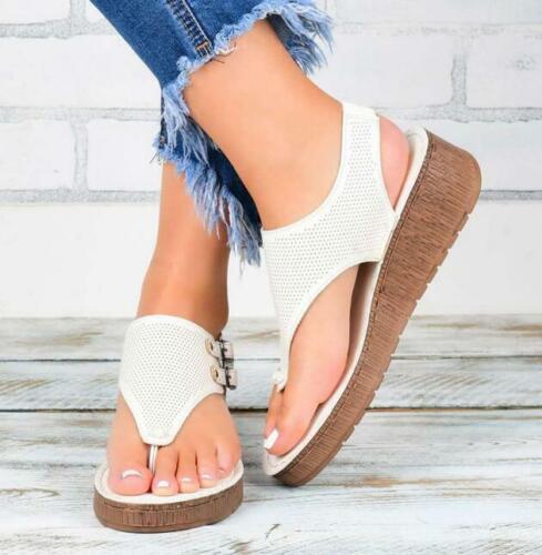 Womens Wedge Sandal Slide Buckle Open Toe Faux Leather Slingback Flip Flop Shoes