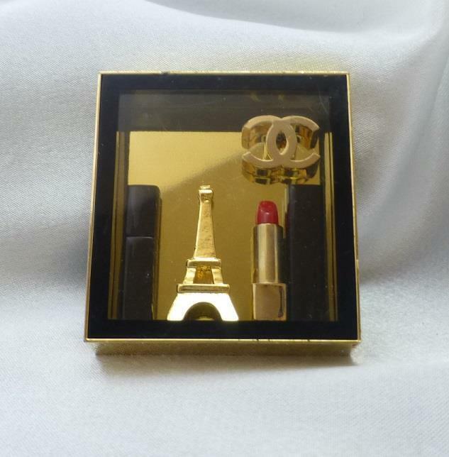 Rare CHANEL Maquillage Shadowbox Promotional Lipstick Eiffel Tower Logo Brooch