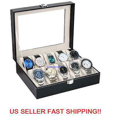 H82 10 Slot Watch Box Leather Display Case Organizer Glass Jewelry Storage Black
