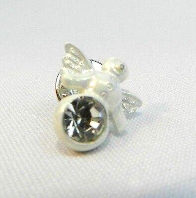 "Snow Angel White Lapel Pin 1"" inch Hat Pin"
