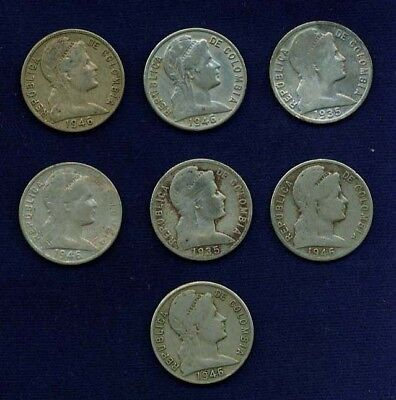 Colombia Republic 5 Centavos Coins  1935 1946  Lot Of 7
