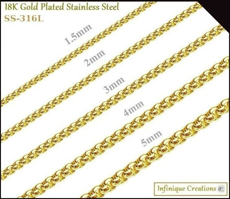 """Jewellery - 18k Gold Plated Stainless Steel Round Box Chain Bracelet Necklace 1.5-5mm 7""""-38"""""""