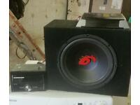Pioneer car stereo with amp and sub