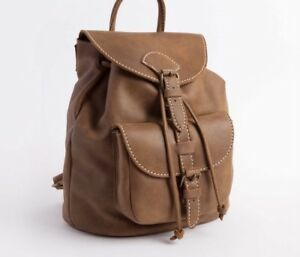 Brown Leather Roots Bag