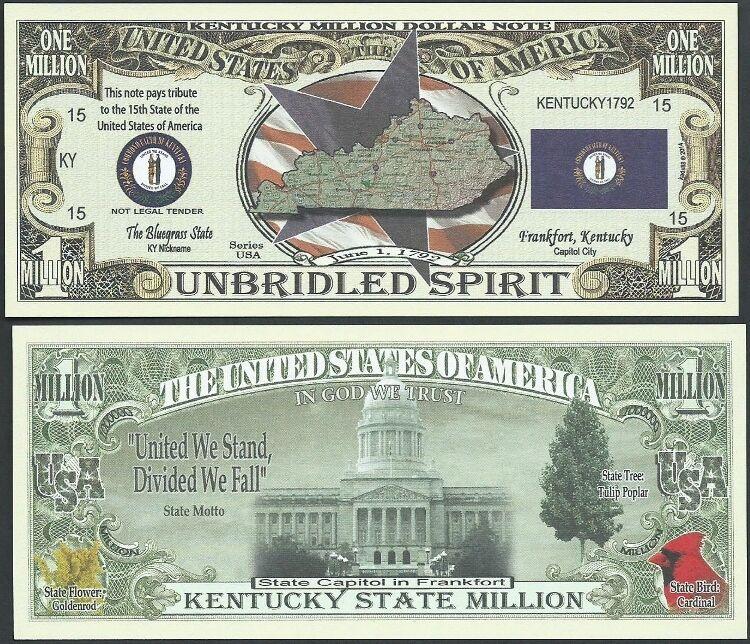 Lot of 500 Bills- KENTUCKY STATE MILLION DOLLAR BILL w MAP, SEAL, FLAG, CAPITOL