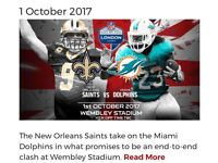 NFL 2x Club Wembley Tickets for Miami Dolphins v New Orleans Saints - 1st October 2017