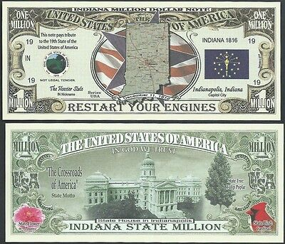 Lot of 25 BILLS- INDIANA STATE MILLION DOLLAR BILL w MAP, SEAL, FLAG, CAPITOL