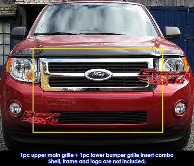 Fits Ford Escape Black Billet Grill Combo 2008-2012 Ford Escape Billet Grille