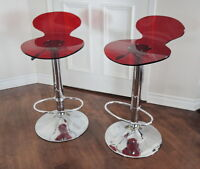 PAIR OF RED BAR STOOLS - MAISON CORBEIL