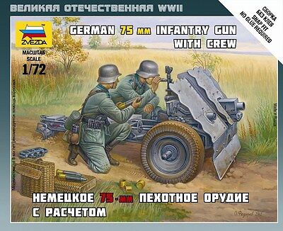 Zvezda  6156   1/72    WWII  German 75mm Infantry Gun with Crew