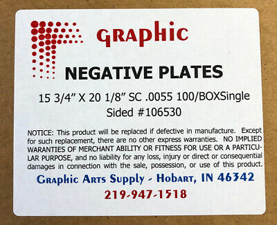 11 X 18 1//2 X .0055 SC Printing Plates in a Box of 100 Plates