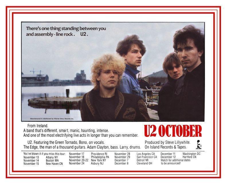 U2  October  **POSTER**   FIRST U.S. TOUR - ALBUM Promo Live Concert TOUR