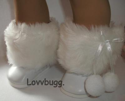 "Lovvbugg White Fur Pom Pom Boots Russian Style for 18"" American Girl or Boy Doll Shoes"