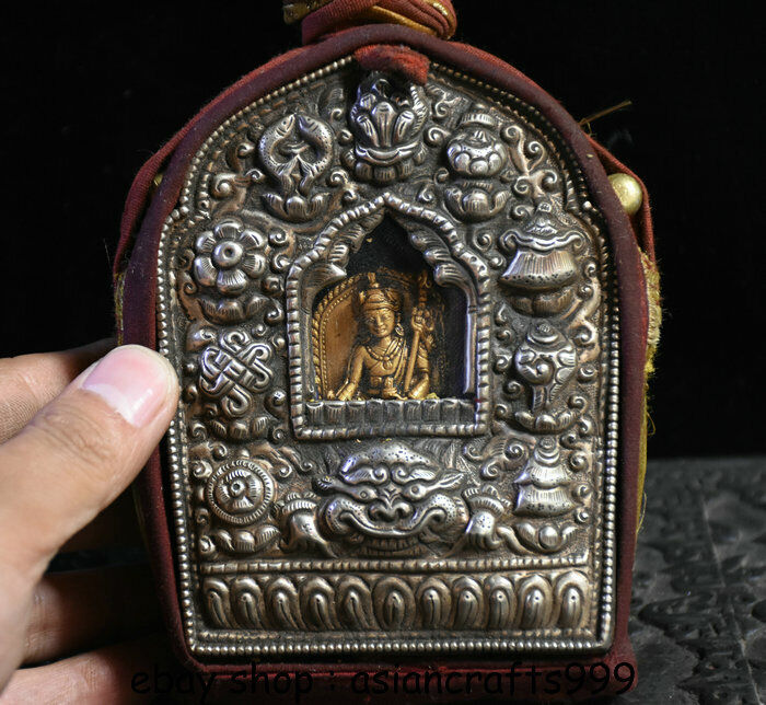 5 Tibet Silber Guru Padmasambhava Buddha 8 Günstiges Symbol GhauSchreinkasten